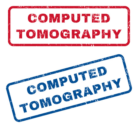 computed: Computed Tomography text rubber seal stamp watermarks. Vector style is blue and red ink tag inside rounded rectangular banner. Grunge design and unclean texture. Blue and red signs. Illustration