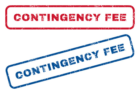 contingency: Contingency Fee text rubber seal stamp watermarks. Vector style is blue and red ink tag inside rounded rectangular banner. Grunge design and dust texture. Blue and red emblems.
