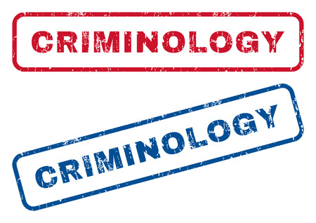 Criminology text rubber seal stamp watermarks. Vector style is blue and red ink tag inside rounded rectangular shape. Grunge design and dirty texture. Blue and red emblems.