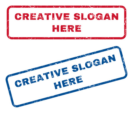 axiom: Creative Slogan Here text rubber seal stamp watermarks. Vector style is blue and red ink caption inside rounded rectangular banner. Grunge design and dust texture. Blue and red stickers. Illustration