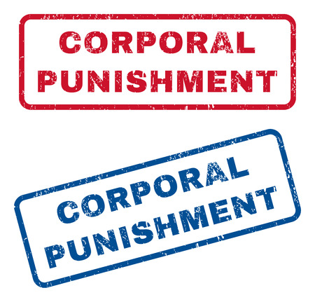 corporal: Corporal Punishment text rubber seal stamp watermarks. Vector style is blue and red ink tag inside rounded rectangular shape. Grunge design and dust texture. Blue and red signs. Illustration