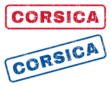 corsica: Corsica text rubber seal stamp watermarks. Vector style is blue and red ink caption inside rounded rectangular shape. Grunge design and dirty texture. Blue and red signs.