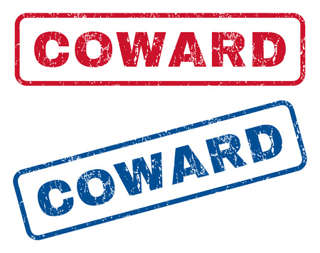 coward: Coward text rubber seal stamp watermarks. Vector style is blue and red ink tag inside rounded rectangular shape. Grunge design and dirty texture. Blue and red emblems. Illustration