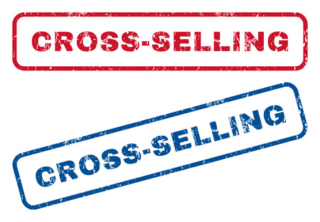 Cross-Selling text rubber seal stamp watermarks. Vector style is blue and red ink tag inside rounded rectangular banner. Grunge design and scratched texture. Blue and red emblems. Illustration