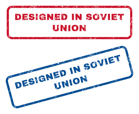 soviet union: Designed In Soviet Union text rubber seal stamp watermarks. Vector style is blue and red ink caption inside rounded rectangular banner. Grunge design and scratched texture. Blue and red signs.