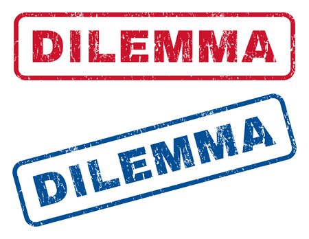 dilemma: Dilemma text rubber seal stamp watermarks. Vector style is blue and red ink caption inside rounded rectangular banner. Grunge design and scratched texture. Blue and red emblems.