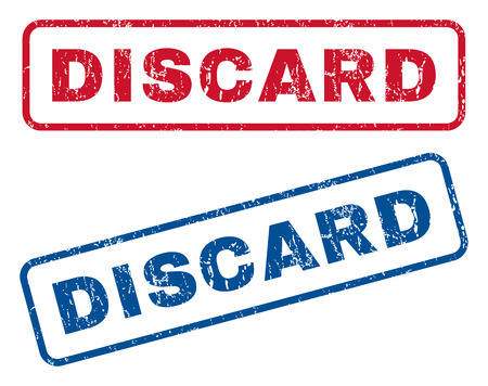 discard: Discard text rubber seal stamp watermarks. Vector style is blue and red ink caption inside rounded rectangular shape. Grunge design and dirty texture. Blue and red signs.
