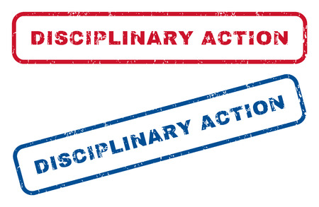 disciplinary action: Disciplinary Action text rubber seal stamp watermarks. Vector style is blue and red ink caption inside rounded rectangular shape. Grunge design and scratched texture. Blue and red stickers.