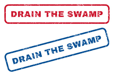 drain: Drain The Swamp text rubber seal stamp watermarks. Vector style is blue and red ink tag inside rounded rectangular banner. Grunge design and dirty texture. Blue and red signs. Illustration