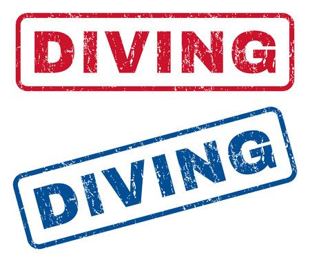 ダイビング テキスト ゴムのシール切手の透かし。ベクトル スタイルは青と赤インクが丸みを帯びた長方形の内部タグします。グランジ デザインと傷の質感。青と赤のエンブレム。
