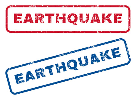 earthquake: Earthquake text rubber seal stamp watermarks. Vector style is blue and red ink caption inside rounded rectangular banner. Grunge design and unclean texture. Blue and red stickers.