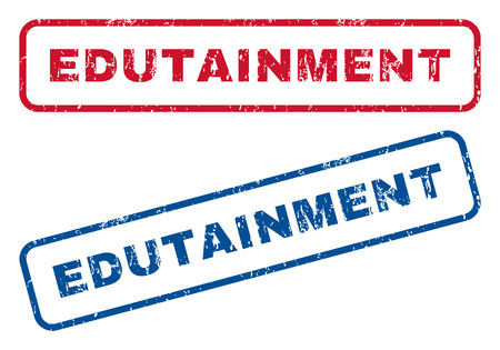 edutainment: Edutainment text rubber seal stamp watermarks. Vector style is blue and red ink tag inside rounded rectangular banner. Grunge design and dirty texture. Blue and red emblems.