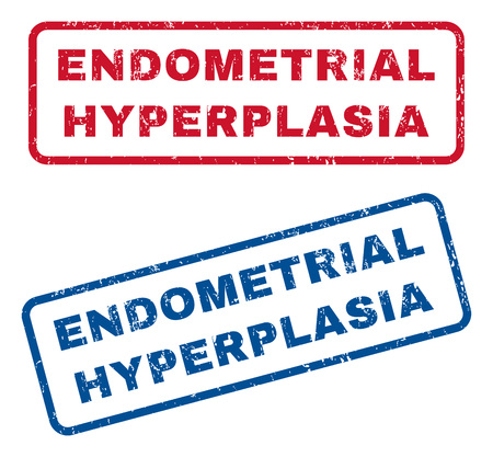 endometrial: Endometrial Hyperplasia text rubber seal stamp watermarks. Vector style is blue and red ink tag inside rounded rectangular shape. Grunge design and unclean texture. Blue and red emblems.