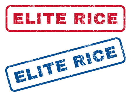elite: Elite Rice text rubber seal stamp watermarks. Vector style is blue and red ink tag inside rounded rectangular banner. Grunge design and dust texture. Blue and red emblems.