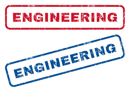 Engineering text rubber seal stamp watermarks. Vector style is blue and red ink tag inside rounded rectangular banner. Grunge design and dirty texture. Blue and red signs.