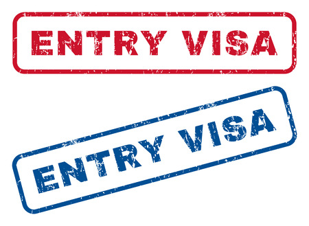admit: Entry Visa text rubber seal stamp watermarks. Vector style is blue and red ink caption inside rounded rectangular shape. Grunge design and unclean texture. Blue and red stickers.