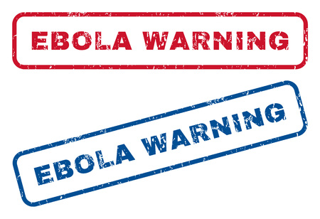 epidemy: Ebola Warning text rubber seal stamp watermarks. Vector style is blue and red ink tag inside rounded rectangular shape. Grunge design and unclean texture. Blue and red signs.