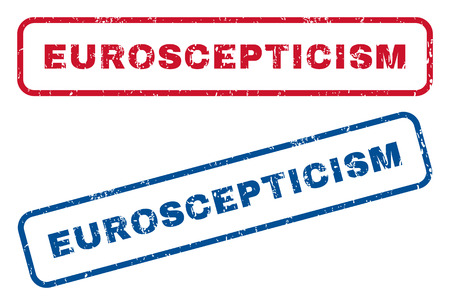 scepticism: Euroscepticism text rubber seal stamp watermarks. Vector style is blue and red ink tag inside rounded rectangular shape. Grunge design and dirty texture. Blue and red signs. Illustration