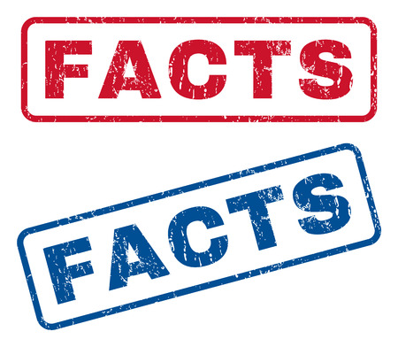 Facts text rubber seal stamp watermarks. Vector style is blue and red ink caption inside rounded rectangular banner. Grunge design and dirty texture. Blue and red stickers. Иллюстрация