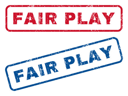 fair play: Fair Play text rubber seal stamp watermarks. Vector style is blue and red ink caption inside rounded rectangular banner. Grunge design and unclean texture. Blue and red stickers.