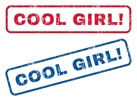 cool girl: Cool Girl! text rubber seal stamp watermarks. Vector style is blue and red ink caption inside rounded rectangular banner. Grunge design and dirty texture. Blue and red stickers. Illustration