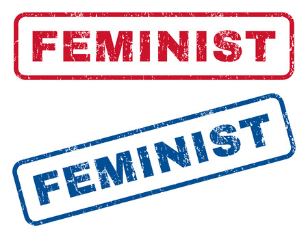 feminist: Feminist text rubber seal stamp watermarks. Vector style is blue and red ink tag inside rounded rectangular banner. Grunge design and unclean texture. Blue and red signs. Stock Photo