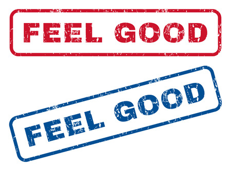 feel good: Feel Good text rubber seal stamp watermarks. Vector style is blue and red ink tag inside rounded rectangular shape. Grunge design and dirty texture. Blue and red stickers.