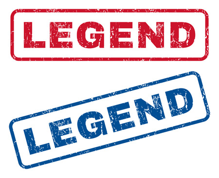 legend: Legend text rubber seal stamp watermarks. Vector style is blue and red ink caption inside rounded rectangular shape. Grunge design and scratched texture. Blue and red signs.