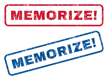 memorize: Memorize! text rubber seal stamp watermarks. Vector style is blue and red ink tag inside rounded rectangular shape. Grunge design and unclean texture. Blue and red emblems.