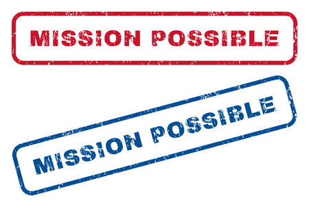 Mission Possible text rubber seal stamp watermarks. Vector style is blue and red ink tag inside rounded rectangular shape. Grunge design and dirty texture. Blue and red stickers. Stock Illustratie