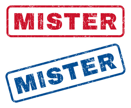 mister: Mister text rubber seal stamp watermarks. Vector style is blue and red ink tag inside rounded rectangular banner. Grunge design and dirty texture. Blue and red signs.