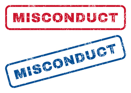 immoral: Misconduct text rubber seal stamp watermarks. Vector style is blue and red ink caption inside rounded rectangular shape. Grunge design and unclean texture. Blue and red signs.