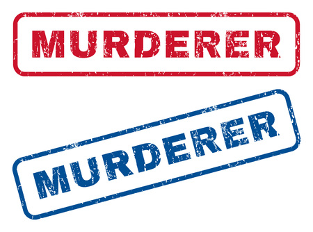 murderer: Murderer text rubber seal stamp watermarks. Vector style is blue and red ink caption inside rounded rectangular shape. Grunge design and scratched texture. Blue and red stickers. Illustration