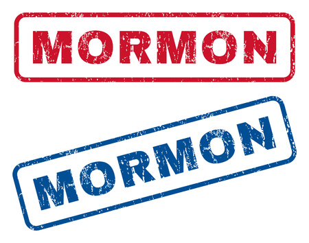 mormon: Mormon text rubber seal stamp watermarks. Vector style is blue and red ink tag inside rounded rectangular shape. Grunge design and unclean texture. Blue and red emblems. Illustration