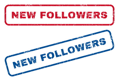followers: New Followers text rubber seal stamp watermarks. Vector style is blue and red ink caption inside rounded rectangular shape. Grunge design and dust texture. Blue and red emblems.