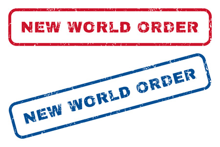 new world order: New World Order text rubber seal stamp watermarks. Vector style is blue and red ink caption inside rounded rectangular shape. Grunge design and unclean texture. Blue and red signs. Illustration