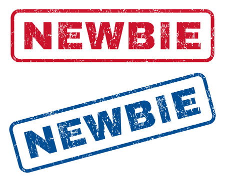 newbie: Newbie text rubber seal stamp watermarks. Vector style is blue and red ink caption inside rounded rectangular banner. Grunge design and dust texture. Blue and red stickers. Illustration