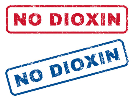 dioxin: No Dioxin text rubber seal stamp watermarks. Vector style is blue and red ink caption inside rounded rectangular banner. Grunge design and dirty texture. Blue and red stickers.