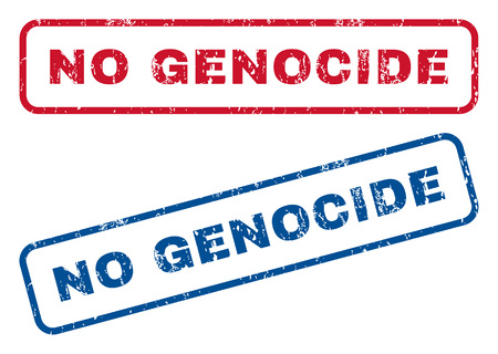 No Genocide text rubber seal stamp watermarks. Vector style is blue and red ink tag inside rounded rectangular shape. Grunge design and unclean texture. Blue and red stickers.