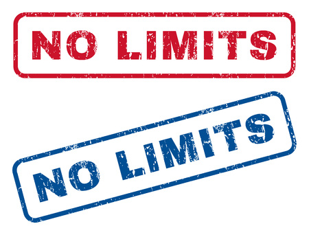 No Limits text rubber seal stamp watermarks. Vector style is blue and red ink caption inside rounded rectangular shape. Grunge design and unclean texture. Blue and red emblems.