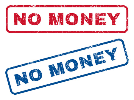 inability: No Money text rubber seal stamp watermarks. Vector style is blue and red ink caption inside rounded rectangular banner. Grunge design and dust texture. Blue and red signs.