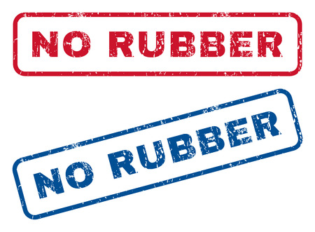 No Rubber text rubber seal stamp watermarks. Vector style is blue and red ink caption inside rounded rectangular banner. Grunge design and dust texture. Blue and red stickers. Ilustração