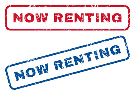renting: Now Renting text rubber seal stamp watermarks. Vector style is blue and red ink caption inside rounded rectangular shape. Grunge design and unclean texture. Blue and red signs.