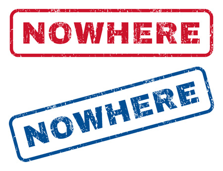 Nowhere text rubber seal stamp watermarks. Vector style is blue and red ink caption inside rounded rectangular shape. Grunge design and unclean texture. Blue and red emblems. Illustration