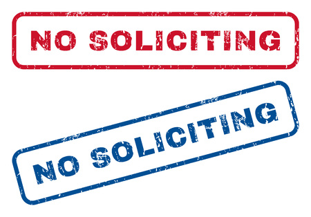 No Soliciting text rubber seal stamp watermarks. Vector style is blue and red ink tag inside rounded rectangular banner. Grunge design and scratched texture. Blue and red signs. Illustration