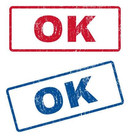 affirmative: Ok text rubber seal stamp watermarks. Vector style is blue and red ink tag inside rounded rectangular shape. Grunge design and dirty texture. Blue and red emblems.