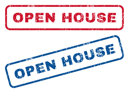 dirty house: Open House text rubber seal stamp watermarks. Vector style is blue and red ink tag inside rounded rectangular banner. Grunge design and dirty texture. Blue and red emblems. Illustration