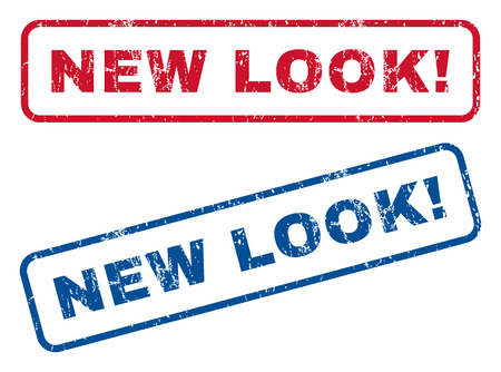 new look: New Look! text rubber seal stamp watermarks. Vector style is blue and red ink tag inside rounded rectangular banner. Grunge design and dirty texture. Blue and red signs.