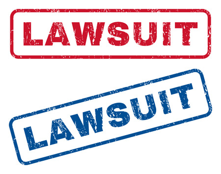 lawsuit: Lawsuit text rubber seal stamp watermarks. Vector style is blue and red ink caption inside rounded rectangular banner. Grunge design and scratched texture. Blue and red signs.
