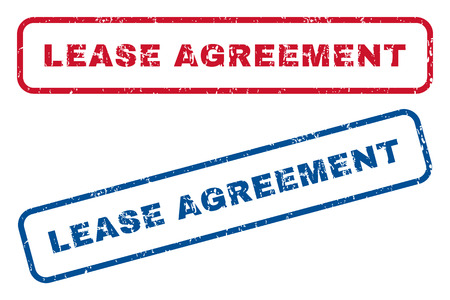 indent: Lease Agreement text rubber seal stamp watermarks. Vector style is blue and red ink caption inside rounded rectangular shape. Grunge design and dust texture. Blue and red signs.